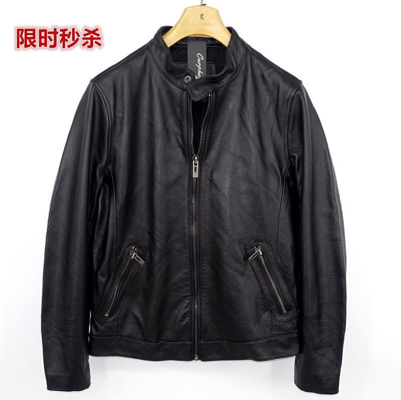 Highend mans echte koe lederen jas korte motorjas voor volwassen mannelijke vintage afwerking kort zwart plus oversized 4xl - 2