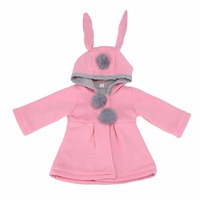 Cute Rabbit Ear Hooded Baby Girls Coat Spring Autumn Tops Kids Warm Jacket Outerwear Children Clothing