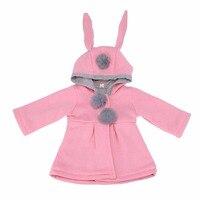 Cute Rabbit Ear Hooded Baby Girls Coat Spring Autumn Tops Kids Warm Jacket Outerwear Children Clothing
