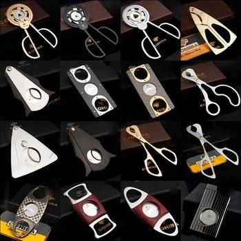 COHIBA Double Blades Stainless Steel Gold Silver P Wood Cigar Cutter Pocket Gadgets Zigarre Cutter Knife Cuban Cigars Scissors