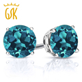 GemStoneKing Solid 925 Sterling Silver Fine Jewelry 1.10 Ct Round 5mm Natural London Blue Topaz Earrings Studs For Women