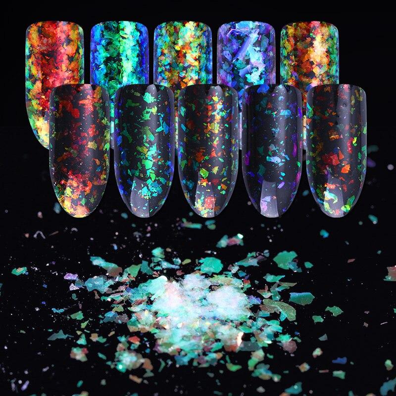 NACIDO PRETTY Camaleón irregular Brillo para uñas 5 colores - Arte de uñas - foto 5
