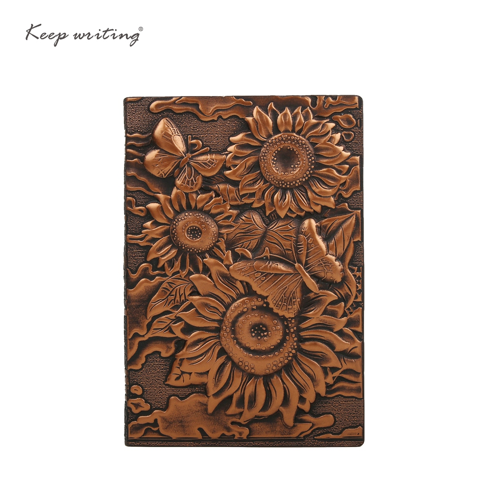 Sunflower A5 Notebook Vintage journal Retro Notepad Relief Effect Cover Cute European Diary PU Leather Cover office Stationery sosw fashion anime theme death note cosplay notebook new school large writing journal 20 5cm 14 5cm