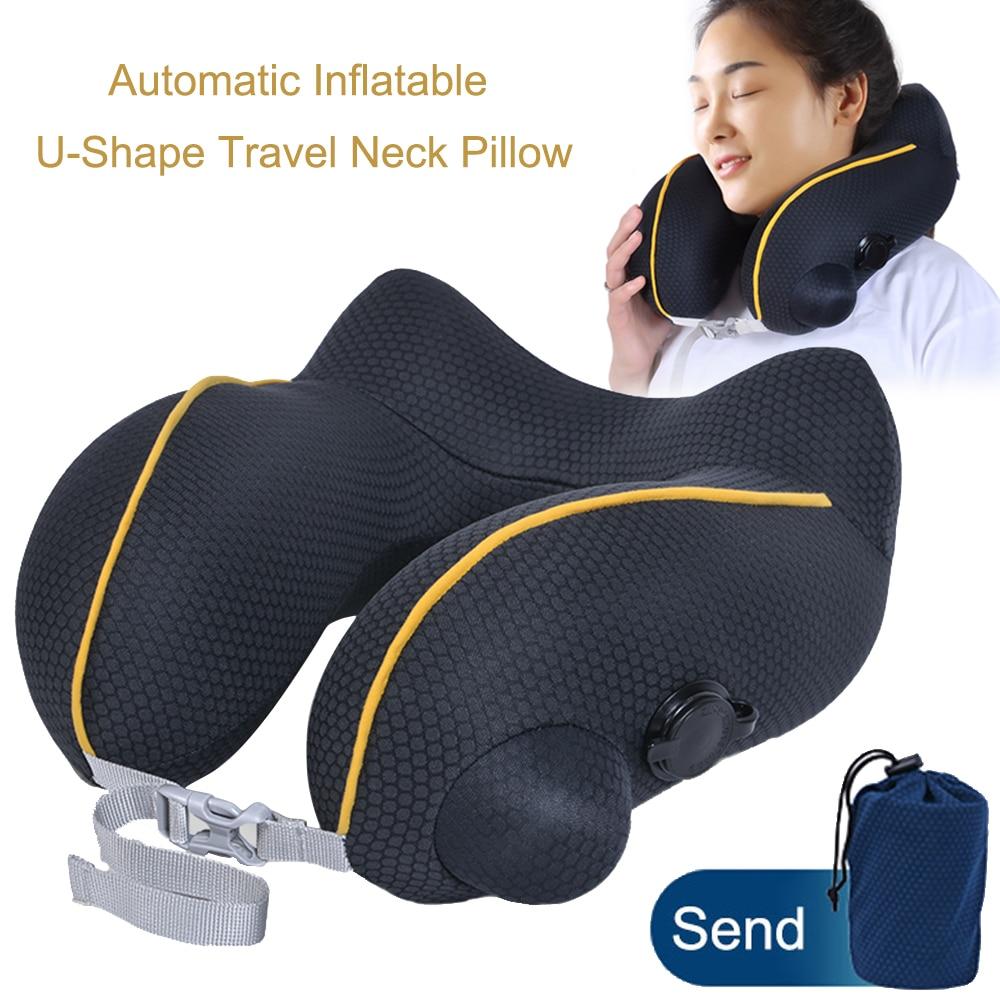 JINSERTA Automatic Inflatable U-Shape Travel Neck Pillow Car Air Inflatable Headrest  Folding Portable Neck Cushion Pillow