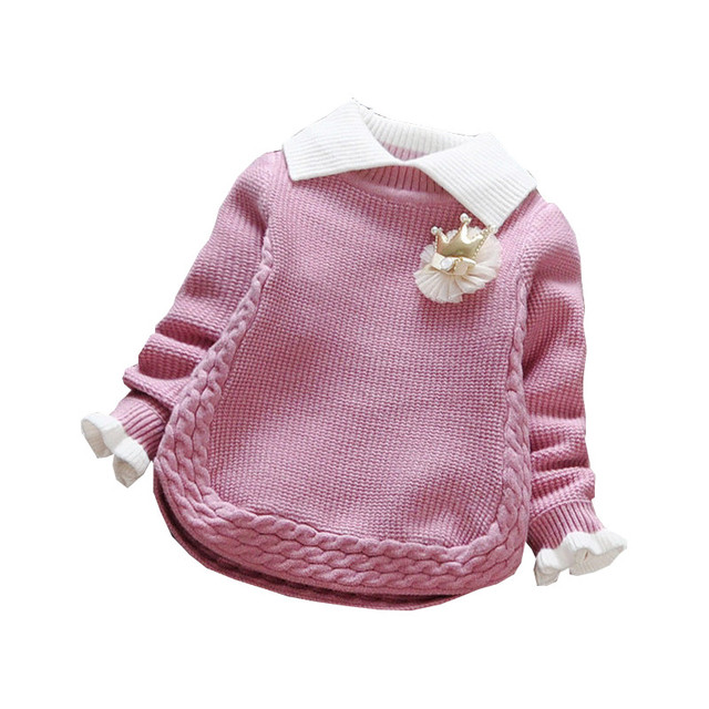 2016 Baby Girl Sweater Newborn Long Sleeve Princess Autumn Winter Turn Down Collar Christmas Sweaters Kids Knitted Pullover