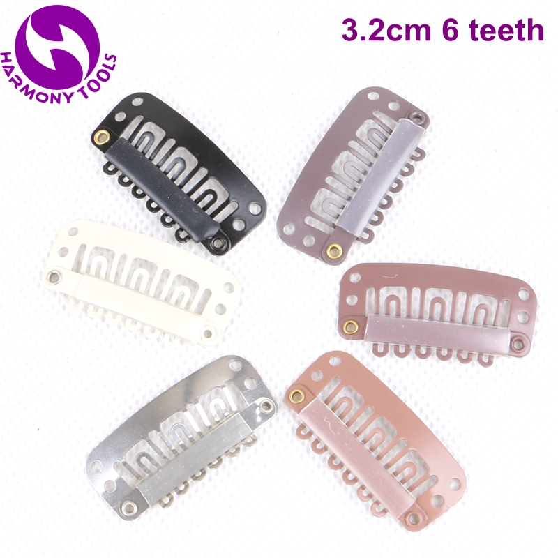 50 Pieces 3.2cm 6 teeth Silicone Snap Clips Stainless Steel Clips for Clipin Hair Extensions with 7 different colors