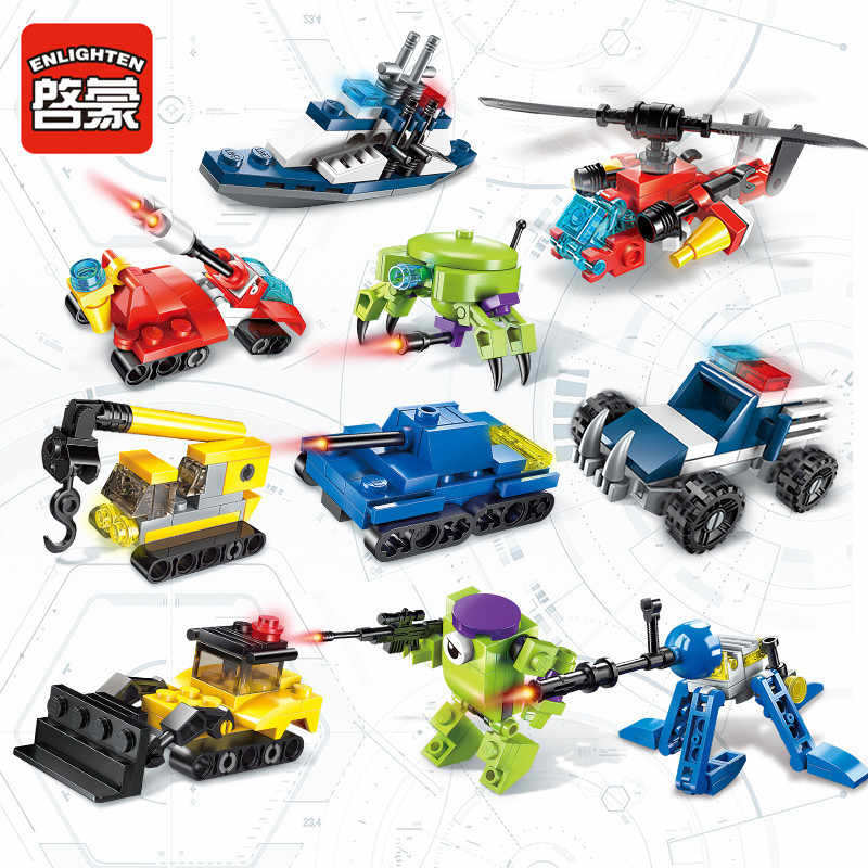 ERLEUCHTEN Transformation Military Tank Polizei Hubschrauber Schiff Engineering Bausteine Sets Kits Bricks Kompatibel LGset