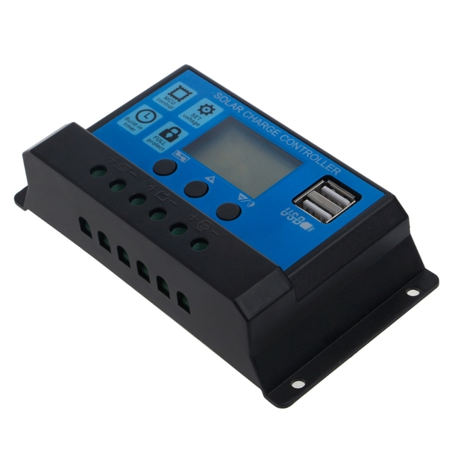 PWM 10/20/30A Dual USB Solar Panel Battery Regulator Charge Controller 12V 24V Tu APR24