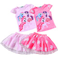 2016 summer high quality cartoon Layered Tutu Dress Sets  girls flowers gauze skirt suit Kids Clothing Sets