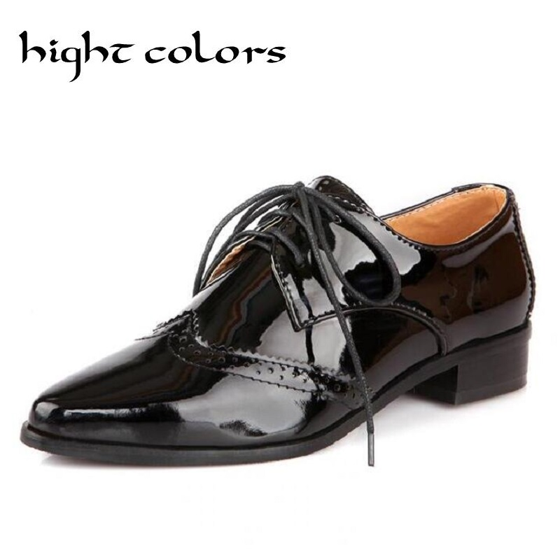 HIGHT COLORS New Spring autumn patent leather Oxfords Shoes For Women lace up Flat Casual Shoes Women's poined Toe Flat Shoes xiuningyan soft leather women shoes brogues lace up flat pointed toe patent leather white oxfords women casual shoes for women
