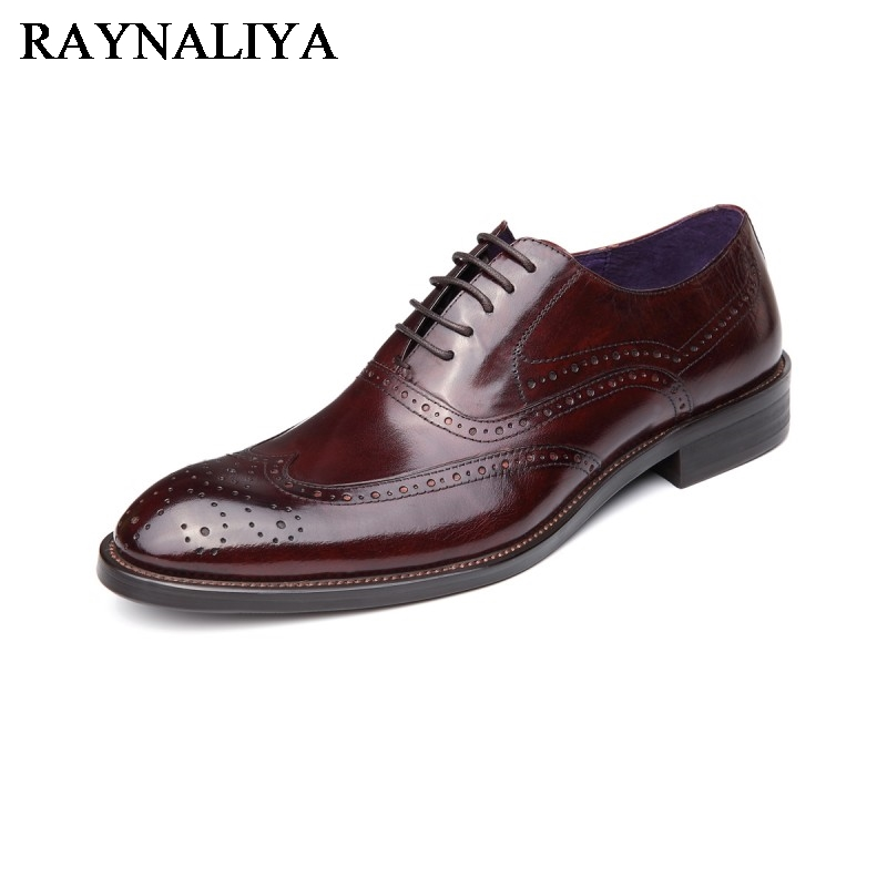 New 2018 Fashion Men Dress Shoes Genuine Leather Lace-Up Black Oxfords Business Men's Wedding Shoes Luxury Brand Winter YJ-A0035 new fashion hot sale men breathable casual shoes lace up for men genuine leather dress wedding shoes anti skid business boots