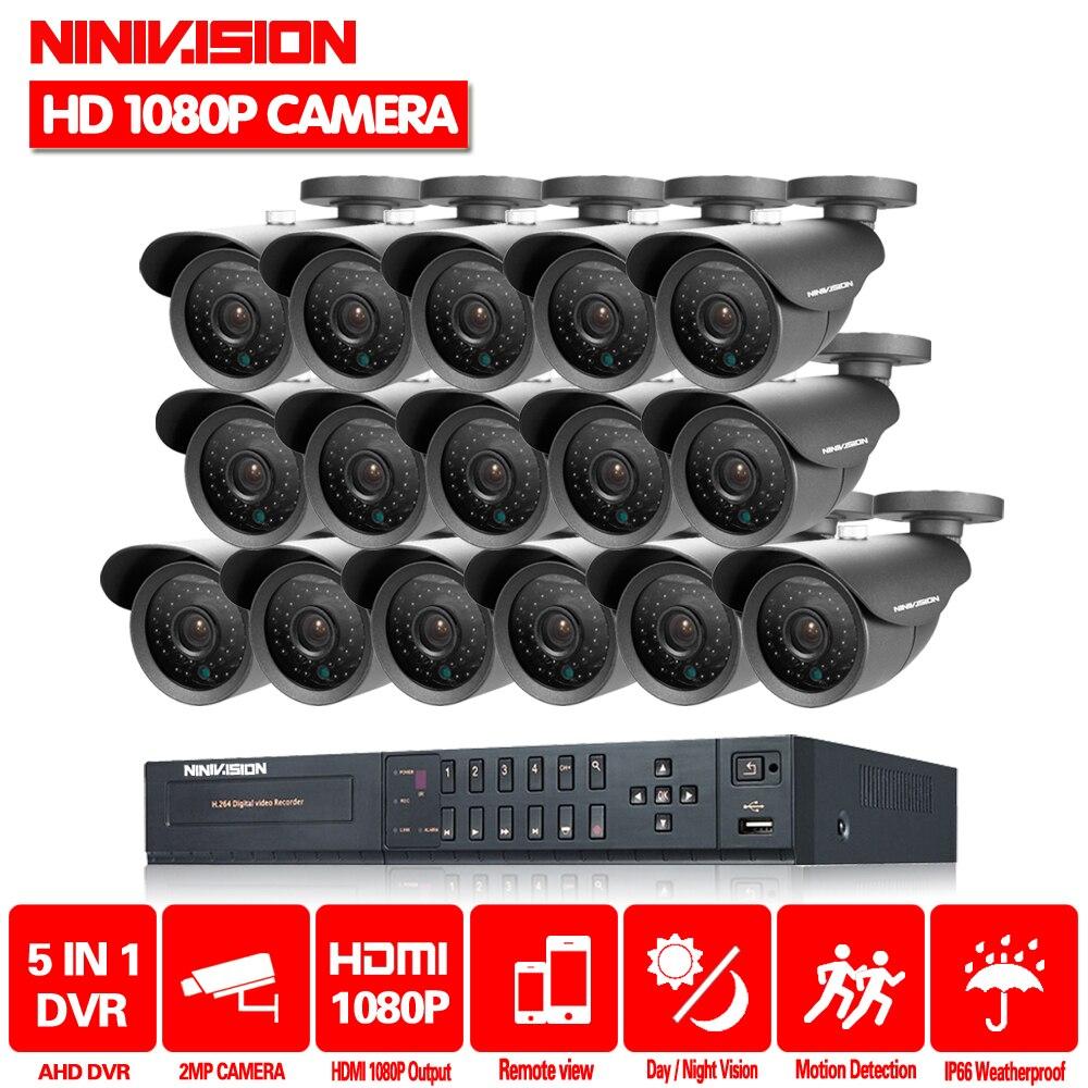 NINIVISION CCTV Sistema di 16CH HDMI 1080 p DVR Video CCTV Sistema di 16 pz 2.0MP 3000TVL di Sicurezza esterna di IR di Sorveglianza Della Macchina Fotografica sistema di