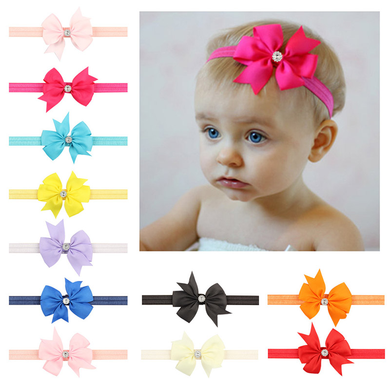 20 Colors Fashion Lovely Baby Girl Ribbon Bow With Rhinestone Headband Elastic Baby Bows Hair Bands Hair Wear Hair Accessories