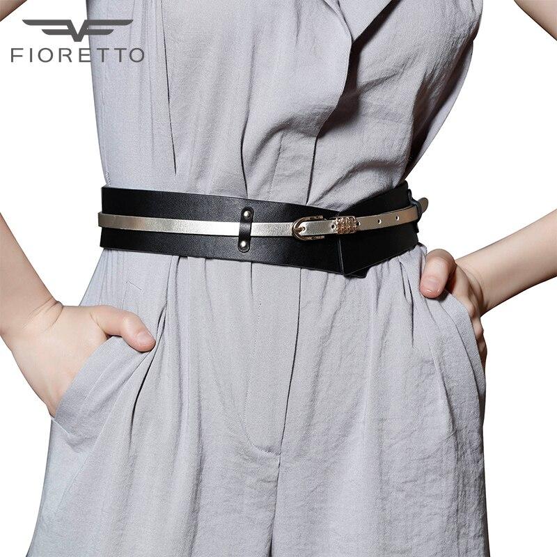 Fioretto nouvelles femmes ceintures en cuir véritable élégant luxe en cuir de vachette ceinture pour dames robe de soirée ceinture Punk ceinture
