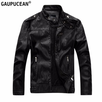 Men PU Jacket European Size Winter Fleece Thick Warm Plaid Clothing Male Black Stand Collar Fashion Zippers Man Leather Jackets