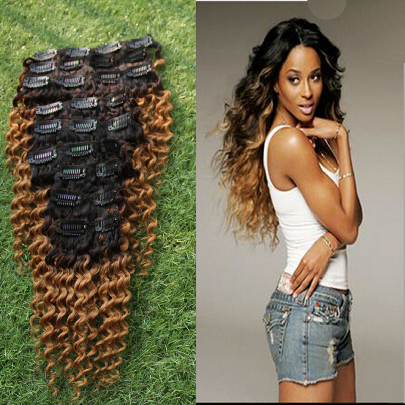 Hot 7a Human Virgin Brazilian Ombre Clip In Curly Hair Extensions
