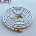 Weiou Sports colored boot laces metallic gold shoelaces white round shoelaces trainer laces125cm/49''