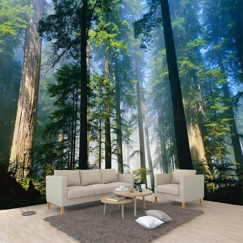 Custom 3D Wall Murals Wallpaper Nature Fog Towering Trees Forest Sunshine Photo Wall Paper Living Room Mural Papel De Parede 3D