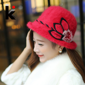 Free Shopping Fashion And Elegant Womens Hat Fedoras Winter Pure Rabbit  Fur Keep Warm Cap Flower Decoration Small Fedoras Caps 1