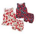 Новый летний девочка одежды sleeless девочка вишня печатных милый комплект одежды мода детская одежда