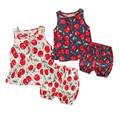 new summer baby girl clothes sleeless baby girl cherry printed cute clothing set fashion baby clothes
