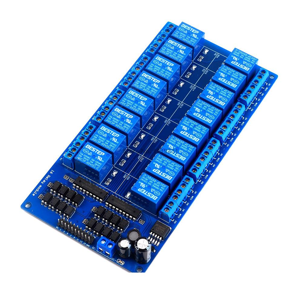 12V 16 Channel Relay Shield Module with optocoupler LM2576 Power supply NEW