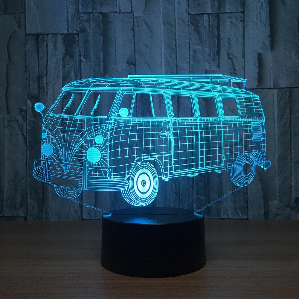 3d złudzenie optyczne w stylu vintage autobus Lampa przezroczyste akrylowe światło nocne Led Fairy Lampa zmiana koloru stół dotykowy Bulbing Lambas Lampa pokojowa