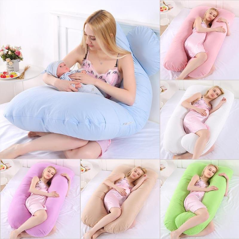 Baby Pregnancy Pillow Maternity Support Pillow Body Pure Cotton Pillowcase U Shape Maternity Pillows Pregnancy Side Bedding Prop creative clouds and person pattern square shape flax pillowcase without pillow inner