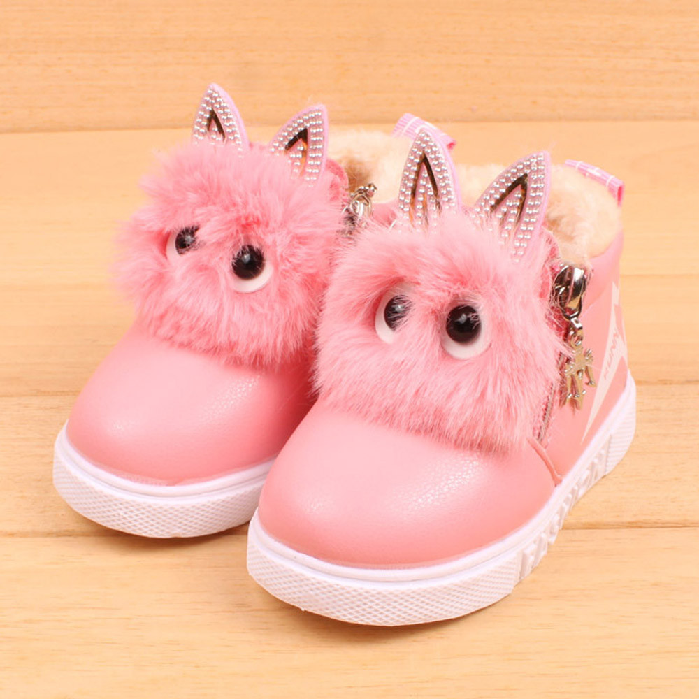 2018 winter Warm baby PU leather boots Children Fashion Boys Girls Sneaker Boots Kid Warm Baby Casual Shoes Lovely Soft shoes