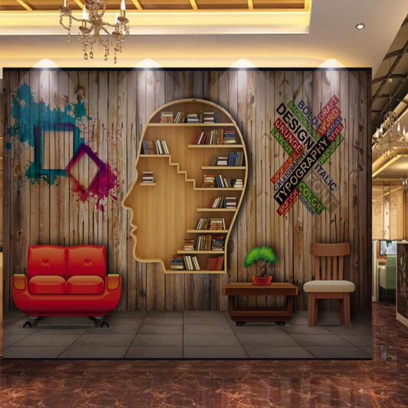 Custom photo wallpaper 3D stereo wood mural art personality bookcase background wall Study library custom wallpaper custom photo wallpaper 3d stereo wood mural art personality bookcase background wall study library custom wallpaper