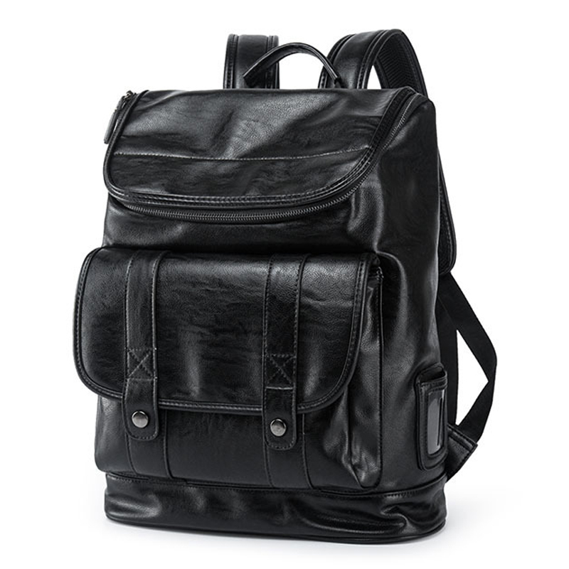 Vintage PU Leather Laptop College Style Backpack Knapsack Rucksack Weekender Daypack Bag image