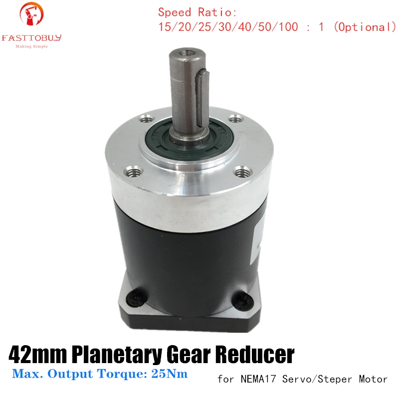 Hohe Präzision 42mm Flansch Planeten Getriebe Minderer Verhältnis 15/20/25/30/40/50/100: 1 Getriebe für NEMA17 42mm Servo Motor 42XG