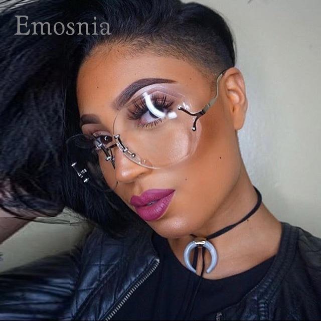 3eb4224c0 Emosnia فريد الساخن شفاف واضح عدسة النظارات النساء النظارات المتضخم كبيرة  الحجم نظارات هلالية الإناث 2017
