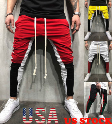 Men Slim Fitness Trousers Long Pants Tracksuit Bottoms Skinny Joggers Men's Sweat Track Zipper Pants