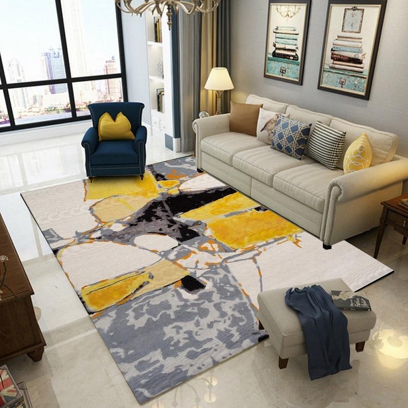 Fashion Nordic Style Geometric Large Carpet Yellow Grey Area Rug Livingroom Bedroom Hallway Kids Room Playing Floor Mats Tapetes