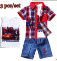 2015 New Summer Boys Spiderman Suits Children's Printed Clothing set Baby 100% Cotton Shirt + Vest + Jean Kids leisure Clothes