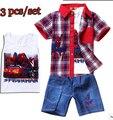 2015 Novo Verão Meninos Spiderman Ternos das Crianças conjunto de Roupas Impresso bebê 100% Camisa de Algodão + Colete + Jeans Kids lazer roupas