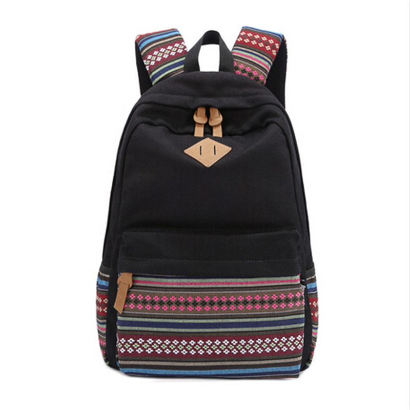 EcoCity Fashion Women Backpack Vintage Canvas School Backpacks Girl Lady Student School bags mochilas for Teenagers Bookbags
