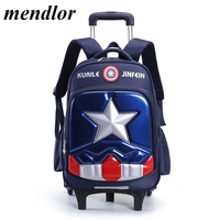 New Arrival Cartoon Removable Children School Bags With 2/6 Wheels Backpacks Boys Trolley Schoolbag Wheeled Backpack as Gift