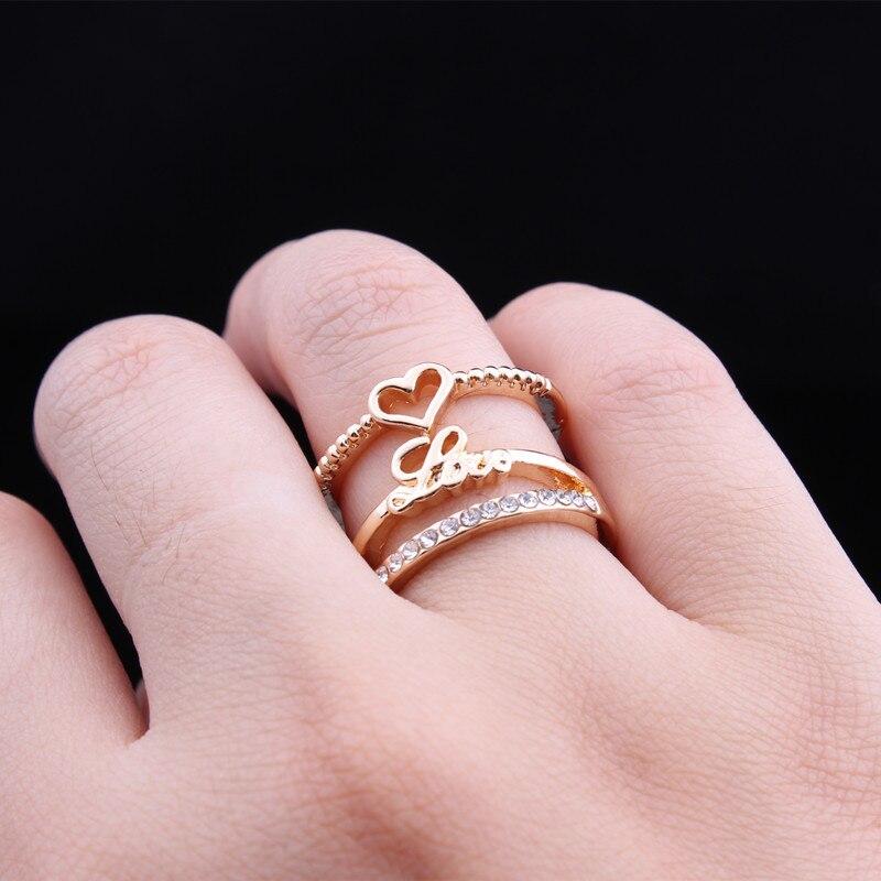 SWOUR New Jewelry Gold Color Unique Korean Design Rhinestone Heart ...