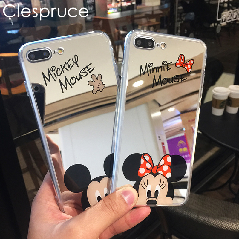 Clespruce Cartoon Mickey Minnie Mouse Mirror Phone Cases For iPhone X 8 8plus 7 6 6s Plus SE 5S Silicone Soft Back Cover Case