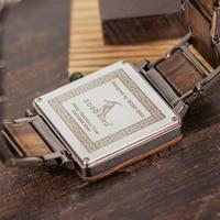 Reloj cuadrado de madera de lujo Unisex 3