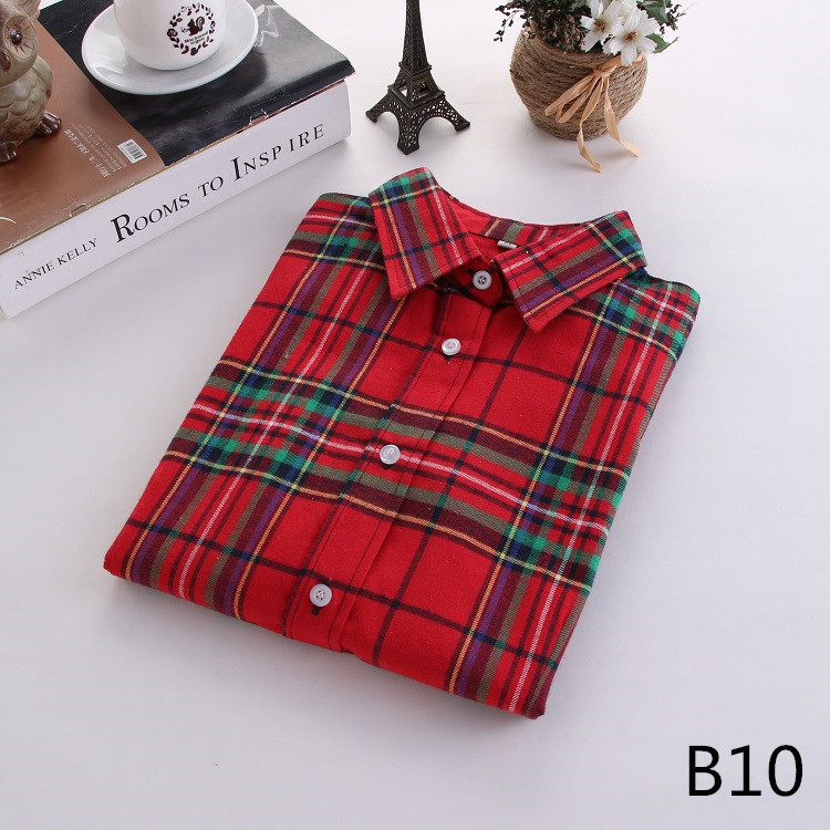 2018 Fashion Plaid Shirt Female College Style Women's Blouses Long Sleeve Flannel Shirt Plus Size Casual Blouses Shirts M-5XL 20