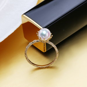 Image 3 - FENASY 18K yellow gold ring,7 8mm round natural pearl rings for women,bohemian Crown Fine Jewelry Wedding Rings Engagement Ring