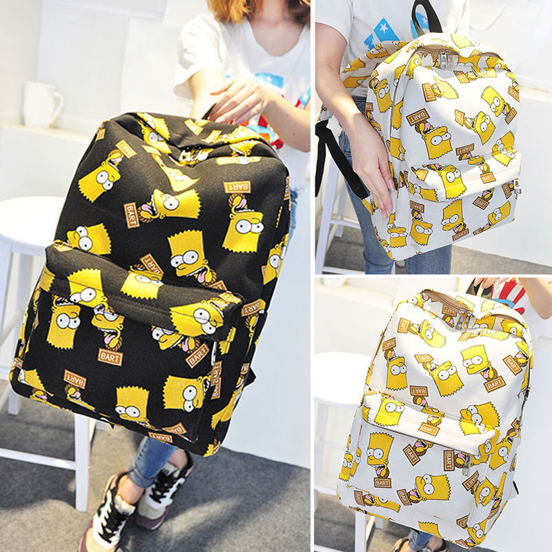 Pretty Canvas Backpack Cartoon Printing School Bags for Teenager Girls Shoulder Bag Mochila Feminina Sac Bags for Women 2018