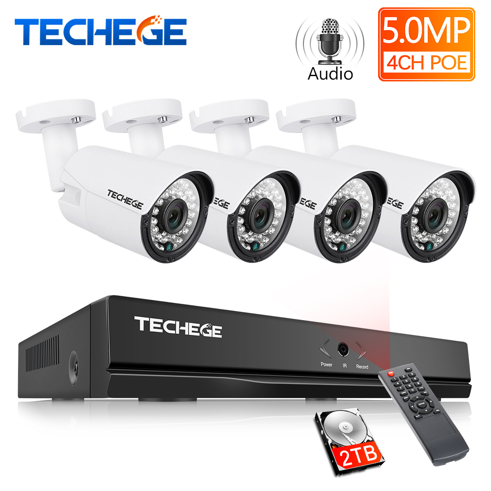 Techege H.265 Super HD 5MP 2592*1944 Audio Surveillance CCTV System 4CH POE NVR Kit Waterproof Outdoor CCTV Camera System