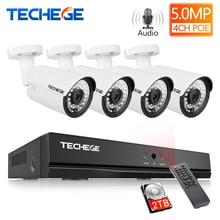 Techege H.265 Super Hd 5MP 2592*1944 Audio Surveillance Cctv Systeem 4CH Poe Nvr Kit Waterdichte Outdoor Cctv Camera systeem