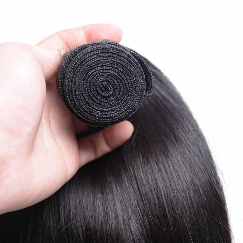 Düz saç 360 demetleri ile dantel frontal 28 30 32 inç brezilyalı insan saçı örgüsü 2 3 demetleri ile 360 frontal demetleri