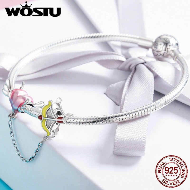 WOSTU authentique 925 en argent Sterling mode coeur cupidon flèche chaîne de sécurité ajustement femmes Original Bracelet bracelets bijoux BKC628