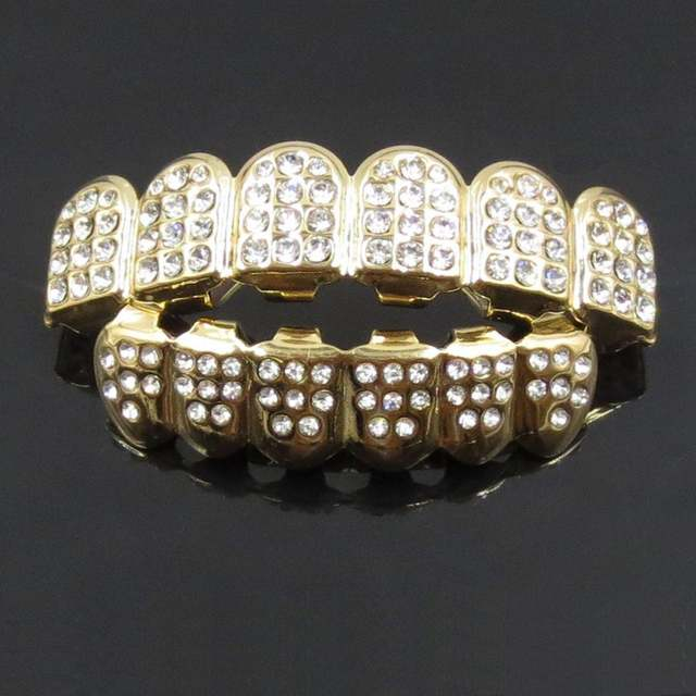 Online Shop 14K Gold Teeth Silver Plated With Diamond Bottom Iced Teeth  Grillz Top Out CZ Hip Hop Tooth Cap Grill Set Party Supplies  827250a3c